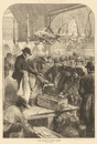 A fish auction in Columbia Market. London 1871 antique ILN full page print